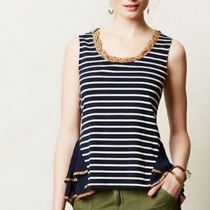 Anthropologie Postmark Striped Peplum Top